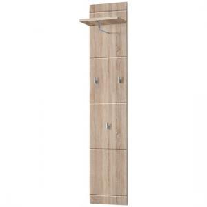 Adrian Wall Mounted Coat Rack In Sonoma Oak With 3 Hooks