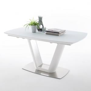 Aeron Glass Extendable Dining Table Boat Shape In Matt White