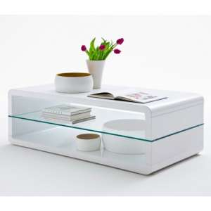 Agatha Wooden Coffee Table In White High Gloss