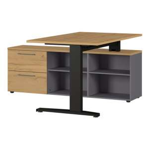 Agenda Angled Laptop Desk In Graphite And Grandson Oak