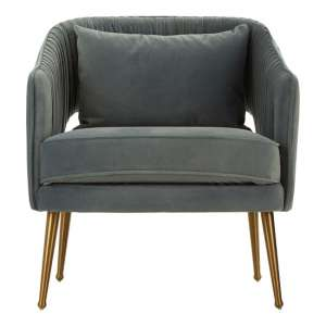 Agnetas Velvet Armchair In Blue With Gold Stainless Steel Legs
