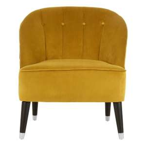 Agoront Velvet Upholstered Lounge Chair In Yellow Finish