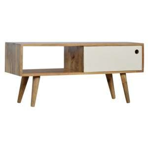 Agoura Wooden TV Stand In Oak Ish And White With Sliding Door