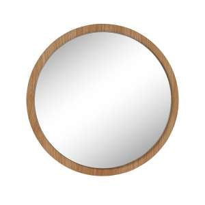 Agra Small Round Wall Mirror With Oak Wooden Frame