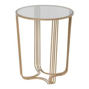 Aida Large Metal Side Table In Gold With Glass Top