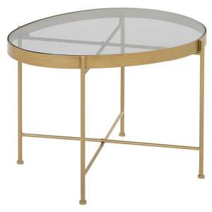 Aida Large Metal Side Table In Gold With Grey Glass Top