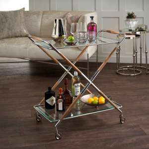Aiza Glass Drinks Trolley In Shiny Nickel With Teak Wood