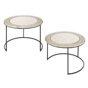Akela Glass Top Set Of 2 Rectangular Side Tables In Silver