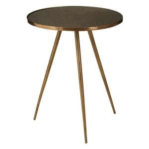 Akela Glass Top Wooden Side Table With Antique Gold Metal Legs