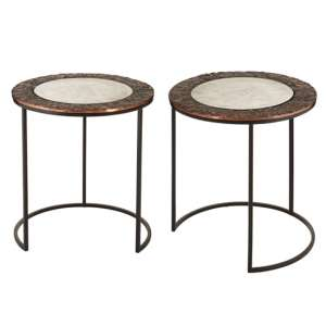 Akela Set Of 2 Small Round Glass Top Side Tables In Copper