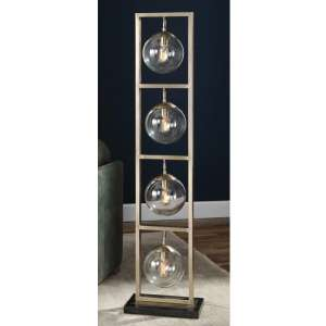 Akuto Clear Glass Globe Floor Lamp With Antique Brass Stand