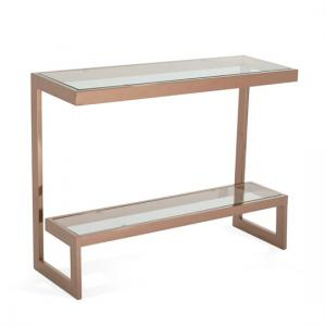 Alana Glass Console Table In Clear With Rodegold Base Frame