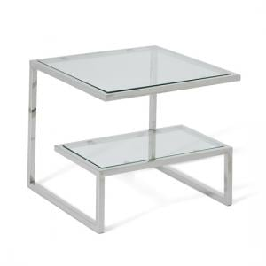 Alana Glass Lamp Table With Polished Stainless Steel Frame