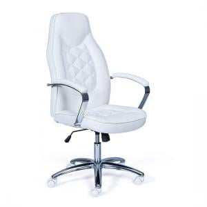 Alana Home Office Chair In White Faux Leather And Chrome
