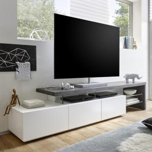 Alanis Modern TV Stand In Concrete And Matt White With Storage