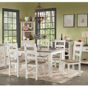 Alaya Large Dining Table In Stone White With Six Dining Chairs