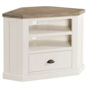 Alaya Wooden Corner TV Stand In Stone White Finish