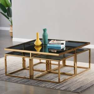 Alba Black Glass Coffee Table With Gold Stainless Steel Legs
