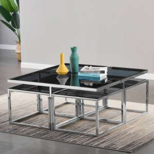 Alba Black Glass Coffee Table With Silver Stainless Steel Legs