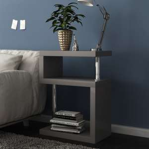 Albania 3 Tier Shelving Unit Grey High Gloss