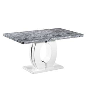 Albano Dining Table In Marble Effect Top With High Gloss Base