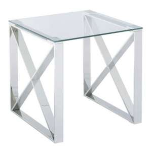 Albany Clear Lamp Table With Polished Steel Frame