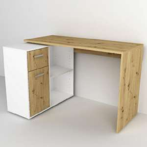 Albea Rotating Corner Computer Desk In Artisan Oak And White