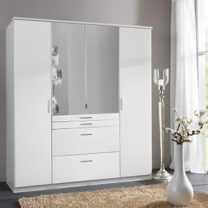 Alberta Mirrored Wardrobe In Alpine White With 4 Doors