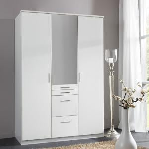 Alberta Mirror Wardrobe In Alpine White With 3 Doors