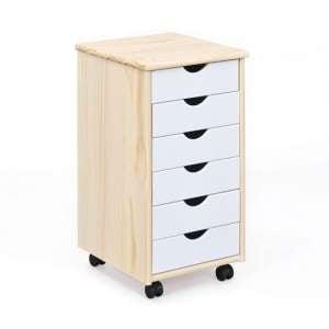Albino Office Pedestal Cabinet In Milkyskin With 6 Drawers