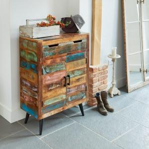 Albion Wooden Shoe Storage Cabinet In Reclaimed Wood