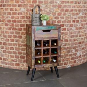 Albion Wooden Lamp Table Or Wine Rack In Reclaimed Wood