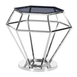 Albury Glass Side Table In Smoke With Polished Steel Frame