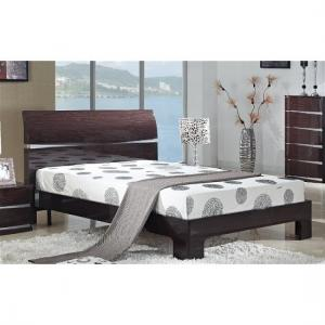 Alcott Modern King Size Bed In Cherry High Gloss