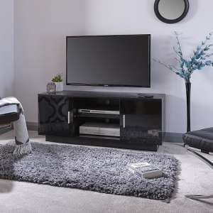 Alderley TV Stand In Black With High Gloss Fronts With 2 Doors