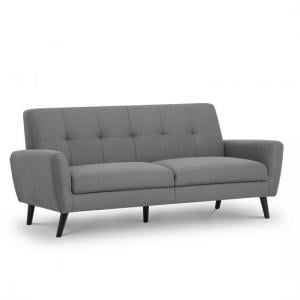 Aldonia Fabric 3 Seater Sofa In Mid Grey Linen With Wooden Legs