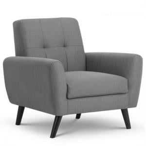 Aldonia Fabric Arm Chair In Mid Grey Linen With Wooden Legs