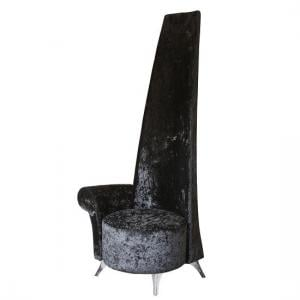 Aldora Right Handed Potenza Chair In Black Crushed Velvet Fabric