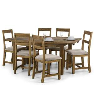 Alecia Extending Dining Table In Rough Sawn Pine With 6 Chairs