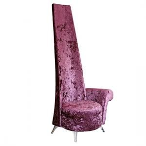 Alecia Left Handed Potenza Chair In Mulberry Velvet Fabric