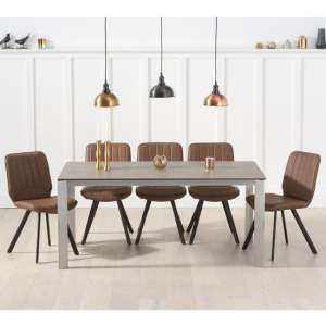 Alejeno Brown Ceramic Dining Table With 6 Brown Damanti Chairs