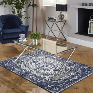 Alessa Glass Coffee Table In Clear With Satin Plated Base