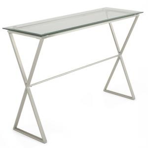 Alessa Glass Console Table In Clear With Satin Plated Base