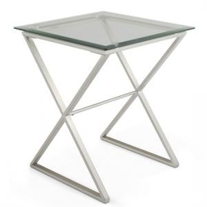 Alessa Glass Lamp Table In Clear With Satin Plated Base