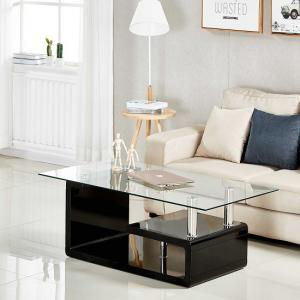Alessia Glass Coffee Table In Clear And High Gloss Black Part 52