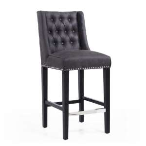 Alessio Suede Effect Bar Chair In Charcoal With Wooden Legs