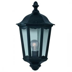 Alex Half Outdoor Wall Light In Black With Clear Glass