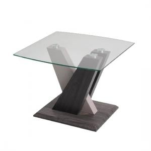 Alexa Glass End Table In Dark Grey And Champagne High Gloss
