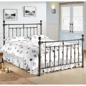 Alexander Black Metal King Size Bed With Nickel Finials