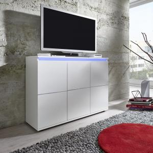 Alexis Modern TV Sideboard In White With LED Lights